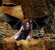 Dantzler Photo Art For Sale Framed Prints - Exhausted Bat-winged Woman Framed Print by Andrew Govan Dantzler