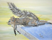 Exhausted Little Nevada Squirrel Print by Phyllis Kaltenbach