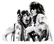 Rocks Musics Bad Boys The Rolling Stones Prints - Exile  Mick Jagger and Keith Richards Print by Iconic Images Art Gallery David Pucciarelli