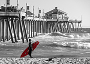 Surf Lifestyle Posters - Existential Surfing At Huntington Beach Selective Color Poster by Scott Campbell