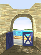 Sea Wall Posters - Exit to the sea Poster by Veronica Minozzi
