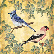 Blue Jay Posters - Exotic Bird Floral and Vine 1 Poster by Debbie DeWitt