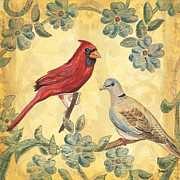 Cardinals Prints - Exotic Bird Floral and Vine 2 Print by Debbie DeWitt