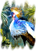 Pink Flower Prints Painting Prints - Exotic Bird Print by Steven Ponsford