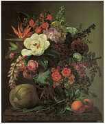 Peaches Painting Prints - Exotic Bloom in a Grecian Urn Print by Johan Laurentz Jensen