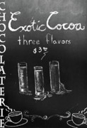 Dining Room Mixed Media Posters - Exotic Cocoa Chalkboard Art Poster by adSpice Studios