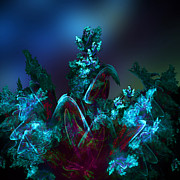 Fractal Art Digital Art - Exotic Flower in Moonlight by Klara Acel