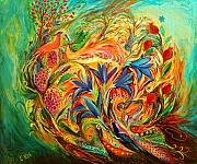 Hebrew Paintings - Exotic Flowers by Elena Kotliarker