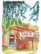 Gourmet Art Paintings - Exotic-Gourmet-Garlic-in-Los Olivos-CA by Carlos G Groppa