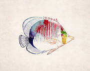 Animal Drawing Posters - Exotic Tropical Fish Drawing Poster by World Art Prints And Designs
