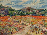 Thomas Bertram Poole Prints - Expanse of Orange Desert Flowers with Hills Print by Thomas Bertram POOLE