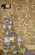 Swirls Paintings - Expectation preparatory cartoon for the Stoclet Frieze by Gustav Klimt
