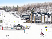 Chair Lift Drawings Framed Prints - Experience Hidden Valley Framed Print by Albert Puskaric