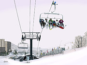 Chair Lift Drawings Framed Prints - Experience Seven Springs Framed Print by Albert Puskaric