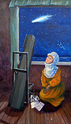 Tarot Paintings - Explorer of Stars - Caroline Herschel by Janelle Schneider
