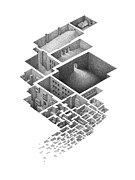 Architecture Drawings Prints - Exploring a Hypnogogic City Print by Mathew Borrett