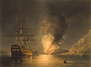 Featured Framed Prints - Explosion Of The USS Steam Frigate Missouri Framed Print by War Is Hell Store