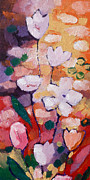 Floral Paintings - Expressionist Flowers by Lutz Baar