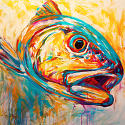 Blue White Prints - Expressionist Redfish Print by Mike Savlen