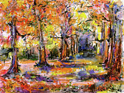 Autumn Landscape Mixed Media Posters - Expressive Enchanted Autumn Forest Poster by Ginette Callaway