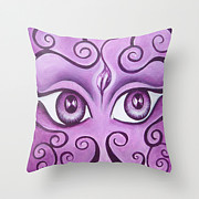 Featured Tapestries - Textiles Originals - Expressive Eyes Pillows by Annette Jimerson