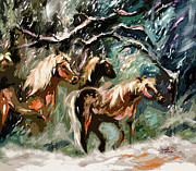 Country Scenes Mixed Media Prints - Expressive Haflinger Horses in Snow Storm Print by Ginette Callaway