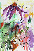 Ginette Fine Art LLC Ginette Callaway - Expressive Purple Coneflower Watercolor and Ink Painting