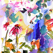 Blue Flower Prints - Expressive Watercolor Flowers and Bees Print by Ginette Callaway