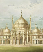 Wales Paintings - Exterior of the Saloon from Views of the Royal Pavilion by John Nash
