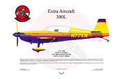 Aircraft Artist Framed Prints - Extra Aircraft 300L Framed Print by Arthur Eggers