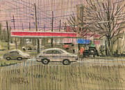 Highway Drawings - Exxon Station by Donald Maier