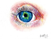 Cardstock Drawings Prints - Eye Ball Print by Jon Baldwin  Art