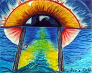 Jesus Pastels Prints - Eye Gate Print by Kelly Burris