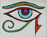 Horus Painting Metal Prints - Eye of Horus Metal Print by Claire Decker