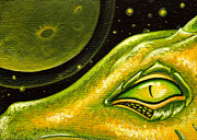 Green Painting Originals - Eye Of Moon Crater by Elaina  Wagner