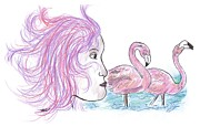 Flamingo Drawings Prints - Eye of Nature - Flamingos Print by Kathleen OHagan