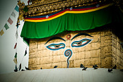 Tibetan Buddhism Prints - Eye of Swayambhunath stupa Kathmandu Print by Raimond Klavins