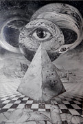 Visionary Art Drawings Metal Prints - Eye Of The Dark Star - Journey Through The Wormhole Metal Print by Otto Rapp