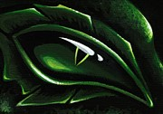 Aceo Prints - Eye Of The Emerald Green Dragon Print by Elaina  Wagner