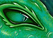Fantasy Paintings - Eye Of The Green Algae Dragon by Elaina  Wagner