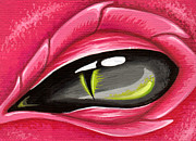 Gray Painting Posters - Eye Of The Rubellite Dragon Poster by Elaina  Wagner