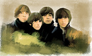 Beatles Drawings Prints - Eye of The Storm The Beatles Print by Iconic Images Art Gallery David Pucciarelli