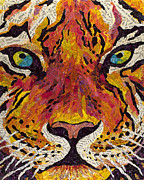 The Tiger Mixed Media Posters - Eye of the Tiger Poster by Janelle Lindley