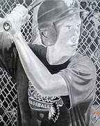 Baseball Drawings Posters - Eye On The Ball Poster by Raymond Dodson