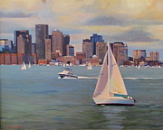 Boston Harbor Paintings - Eye on the Sky by Dianne Panarelli Miller