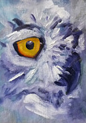 Painted Feathers Paintings - Eye on You by Nancy Merkle