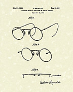 Optical Art Drawings Posters - Eyeglass Frame 1934 Patent Art Poster by Prior Art Design
