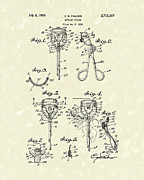 Makeup Drawings Posters - Eyelash Curler 1955 Patent Art Poster by Prior Art Design