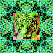 Tiger Digital Art Prints - Eyes of The Bengal Tiger Abstract Window 20130205m180 Print by Wingsdomain Art and Photography