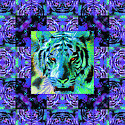 The Tiger Digital Art Metal Prints - Eyes of The Bengal Tiger Abstract Window 20130205m80 Metal Print by Wingsdomain Art and Photography